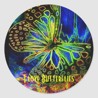 Butterfly Digital Art Classic Round Sticker