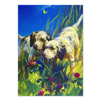 Butterfly Dog Pups Blank Announcements Invitations
