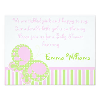 Butterfly Dots Baby Shower Invitation Pink/Green