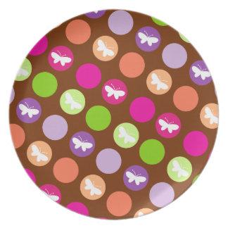 Butterfly Dots in Garden Dark Plate