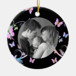 Butterfly Double-Sided Ceramic Round Christmas Ornament
