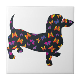 Butterfly Doxie Dachshund Ceramic Tiles