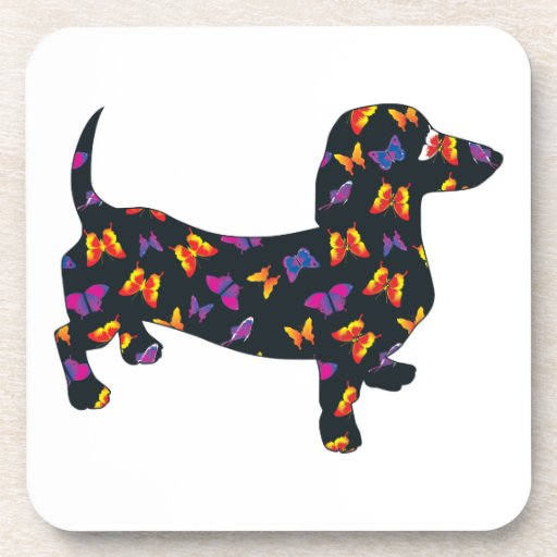 Butterfly Doxie Dachshund Drink Coaster