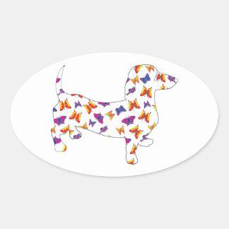 Butterfly Doxie Dachshund Oval Sticker