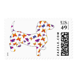 Butterfly Doxie Dachshund Stamp