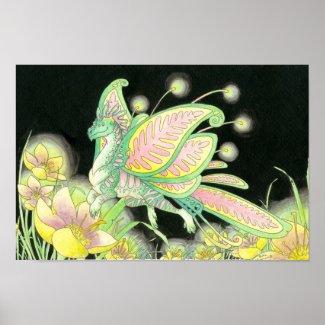 Butterfly dragon poster print print