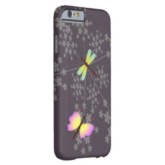 Butterfly, dragonfly and flower digital art design barely there iPhone 6 case