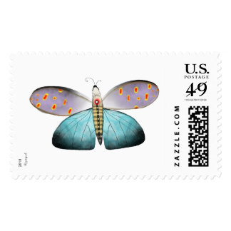 butterfly dragonfly blue nature world Postage