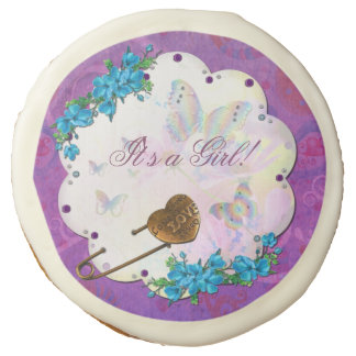 Butterfly Dream Scene Jeweled BABY GIRL ANNIVERS Sugar Cookie