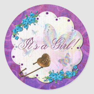 Butterfly Dream Scene Jeweled ITS A GIRL Classic Round Sticker