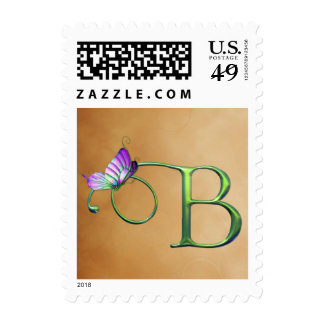 Butterfly Dreams B monogram Postage Stamps