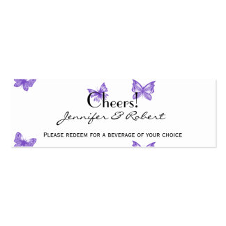 Butterfly Dreams: Violet Wedding Drink Tickets Mini Business Card