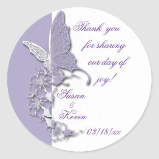 Butterfly Dreams Wedding Round Sticker