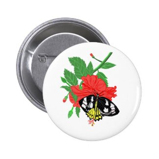 Butterfly Drinking Nectar Button