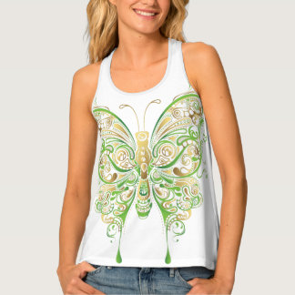 Butterfly Duvet Soft Green Gold Taupe top