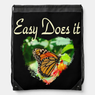 BUTTERFLY EASY DOES IT PHOTO DRAWSTRING BAG