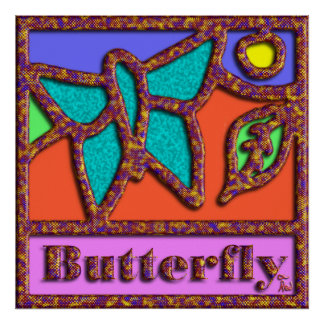 Butterfly Edged in Snake Skin Posters