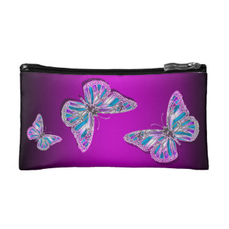 Butterfly elegant pink purple cosmetic bags