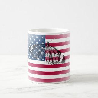 Butterfly embedded with USA flag Coffee Mug