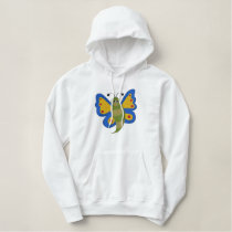 Butterfly Embroidery Pattern - Blue/Green/Yellow Embroidered Hoodie