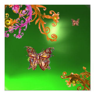 BUTTERFLY EMERALD GREEN, bright pink yellow brown Card