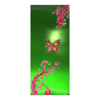 BUTTERFLY EMERALD ,green bright red pink violet Card