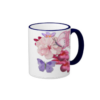 Butterfly Exotic Floral Ringer Coffee Mug