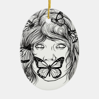 BUTTERFLY EXPRESSION BLACK AND WHITE CERAMIC ORNAMENT