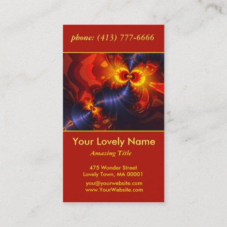 Butterfly Eyes, Abstract Gold Violet Wings Business Card
