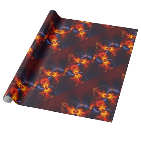 Butterfly Eyes, Abstract Gold Violet Wings Wrapping Paper
