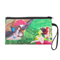 Butterfly Fairies Watercolor Painting Bagettes Wristlet