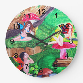 Butterfly Fairies Watercolor Wall Clock Round