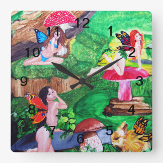 Butterfly Fairies Watercolor Wall Clock Square