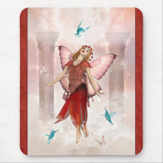 Butterfly Fairy and Hummingbirds Mouse Pad