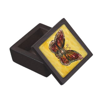 Butterfly Fairy Cat Wood and Tile Gift Box