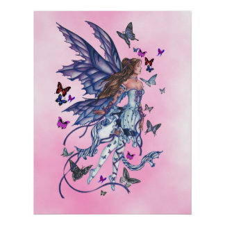Butterfly Fairy in Pink Poster