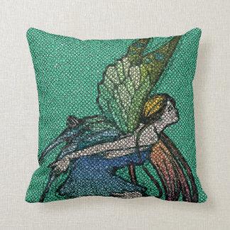 Butterfly Fairy Mosaic Tiles Throw Pillow