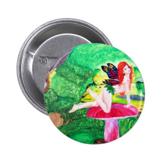 Butterfly Fairy Watercolor Painting Round Button 2