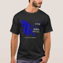 Butterfly Family Fight Blue Ribbon Colon Cancer Aw T-Shirt