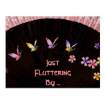 Butterfly Fan on Pink Lace Happiness Post Card