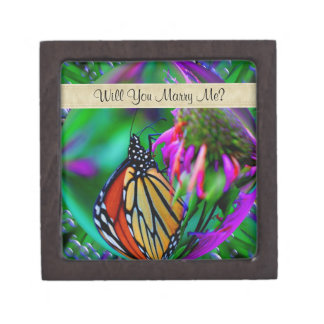 Butterfly Fantasy Art Engagement Ring Gift Box