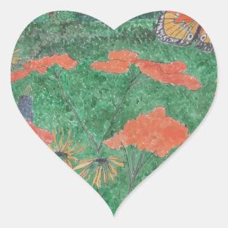Butterfly Field Heart Sticker