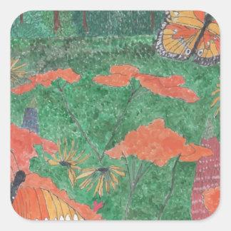 Butterfly Field Square Sticker