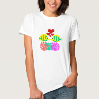 Butterfly Fish kissing over the coral shirt