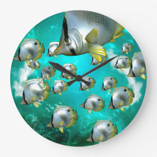 Butterfly fish large clock