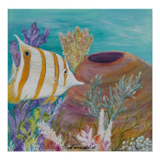 Butterfly fish painting on posters