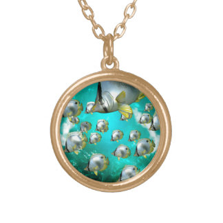 Butterfly fish round pendant necklace