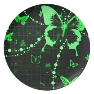 Butterfly Flash Green Plate