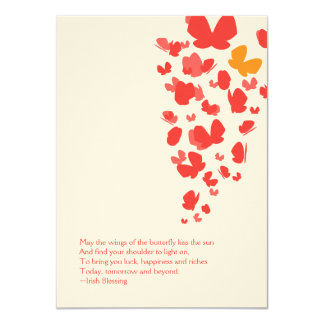 Butterfly Flight Notecard in Pink, Orange & Red