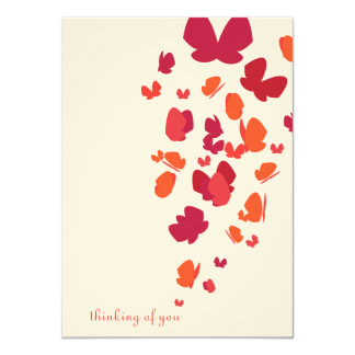Butterfly Flight Notecard in Pink, Orange & Red
